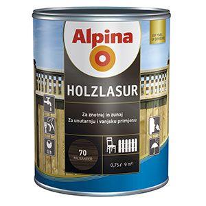 Tenkovrstvá impregnační lazura Alpina Holzlasur 60 Nussbaum - ořech 0,75L