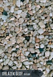 KAMENNÝ KOBEREC DO EXTERIÉRU - oblázek šedý  4/8 mm