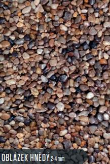 KAMENNÝ KOBEREC DO INTERIÉRU - oblázky hnědé 2/4 mm